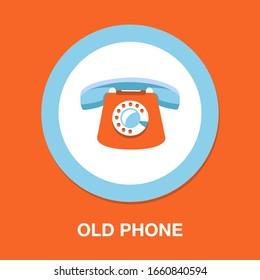 old phone icon - vector telephone machine illustration - phone symbol isolated, communication call icon