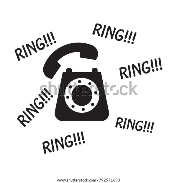 Old Phone Ringing Vector Illustration Eps Stock Vector
