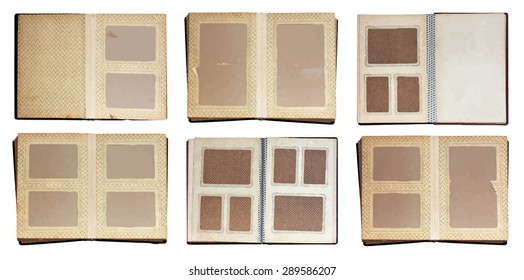 old photo albums set, vector