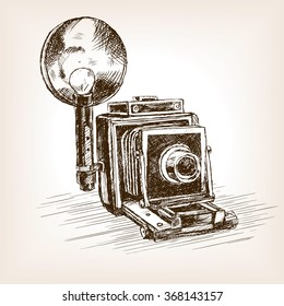 Old photo camera  sketch style vector illustration. Old hand drawn engraving imitation.