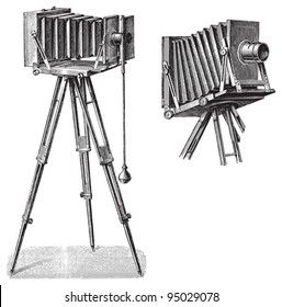 Old photo camera with tripod / vintage illustration from Meyers Konversations-Lexikon 1897