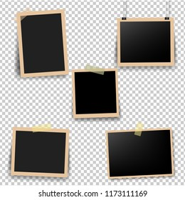Old Photo Frame With Transparent Background With Gradient Mesh, Vector Illustration