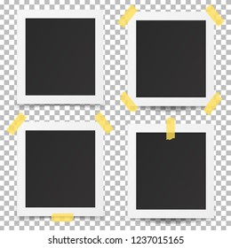 Old photo frames isolated on transparent background. Vector illustration.