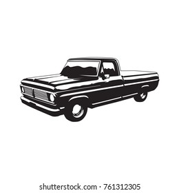 Old pickup truck vintage style vector black