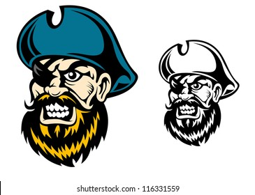 Old pirate captain in cartoon style for mascot or tattoo design, such a logo template. Jpeg version also available in gallery