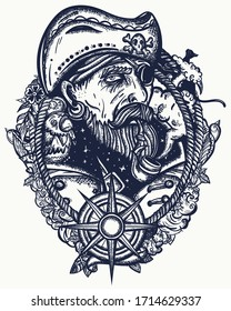Old pirate captain smocking pipe. Elderly sea wolf, parrot, compass,  rope, wave, swallows and black cats. Symbol of ocean adventure, treasure island. Old school tattoo style. Marine t-shirt art