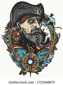 Old pirate captain smocking pipe. Elderly sea wolf, parrot, compass, rope, wave, swallows and black cats. Old school tattoo style. Marine t-shirt art. Symbol of ocean adventure, treasure island