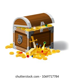 Old pirate chest full of treasures, gold coins, ingots, jewelry, crown, dagger, vector, cartoon style, illustration, isolated. For games, advertising applications