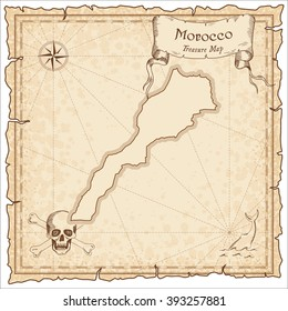 Old pirate map of Morocco. Sepia engraved template of Morocco pirate map. Treasure map on vintage paper.
