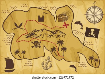 old pirate map of treasure island