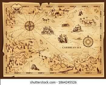 Old pirate map, vector worn parchment with jolly roger in tricorn, caribbean sea, islands and land, wind rose and cardinal points. Vintage grunge paper pirate map, adventure, treasure research game