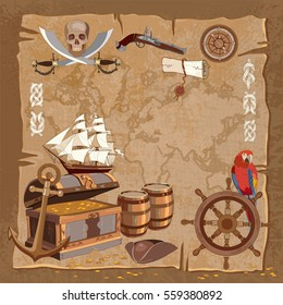 Old pirate treasure map. Adventure stories background. Treasure chest parrot steering wheel skull rum saber pirate hat and ship