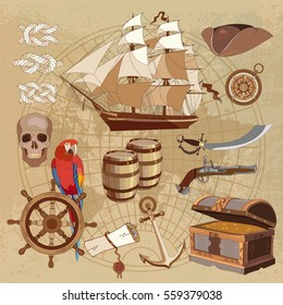 Old pirate treasure map. Treasure chest, parrot steering wheel skull, rum saber pirate hat and ship. Adventure stories background