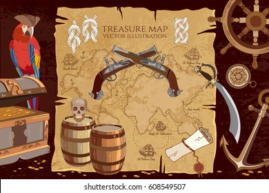 Old pirate treasure map. Treasure chest parrot steering wheel skull rum saber pirate hat and ship. Adventure stories background