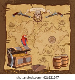 Old pirate treasure map. Treasure chest parrot skull rum saber pirate hat and ship. Adventure stories background vector