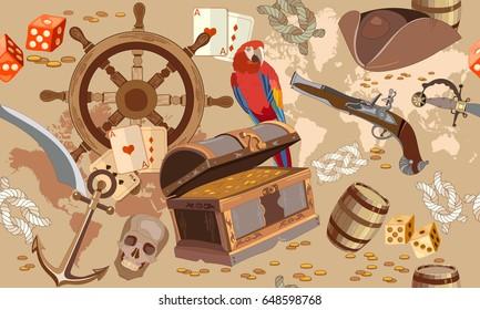 Old pirate treasure map seamless pattern. Treasure chest, parrot steering wheel skull, rum saber pirate hat. Adventure stories seamless background
