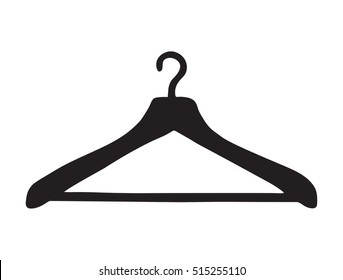 Old plastic shoulder for shirt, dress, coat isolated on white backdrop. Dark ink hand drawn picture sketch in art retro style pen on paper. View closeup with space for text
