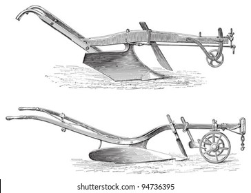 Old ploughs (above made in America, under made in England)/ vintage illustration from Meyers Konversations-Lexikon 1897