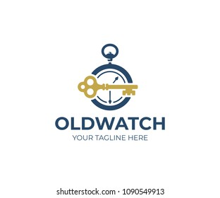 Old pocket watch and key logo template. Vintage key and clock vector design. Antique skeleton key and antique watch logotype