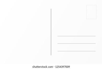 Old postcard back template. Travel postal card design template
