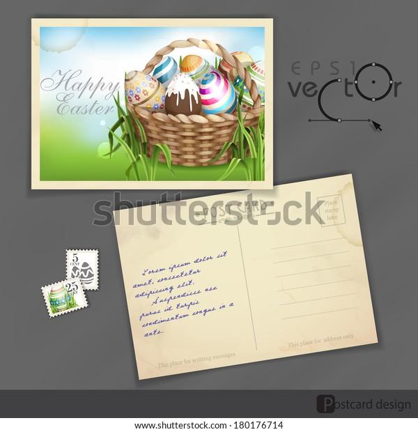 Old Postcard Design, Template. Easter Background With A Basket Full Easter Eggs. Vector Illustration. Eps 10.