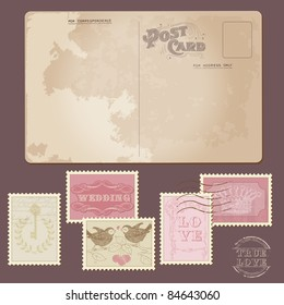 Old Postcard and Wedding Postage Stamps - for Design, Invitation, Congratulation, Scrapbook