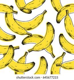 Old print banana seamless pattern. Fun fruit background. Vector illustration