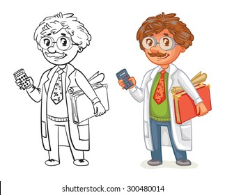 Old professor in lab coat. Funny cartoon character. Vector illustration. Isolated on white background. Coloring book. Color and black and white image