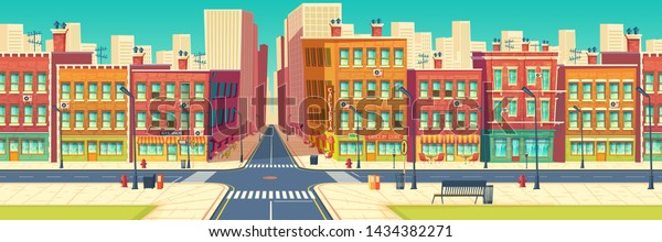 Old quarter street, city historical center district in modern metropolis cartoon vector. Roads crossing and crosswalks, cafe, restaurant, store showcases in retro architecture buildings illustration