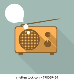 Old radio - graphic for business design, infographics, reports or workflow layout in flat style