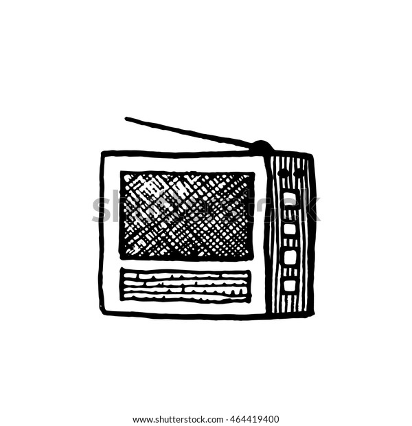 Old Radio Vintage Style Hand Drawn Stock Vector (Royalty