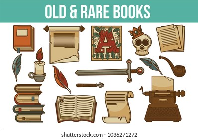 Old and rare books together with artifacts and candles