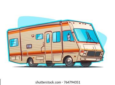 Old Recreation Vehicle Camper. Cartoon illustration