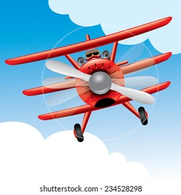 Old Red Baron plane cartoon vector illustration