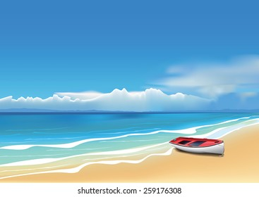 Old red boat on beautiful beach. (Used mesh tool).