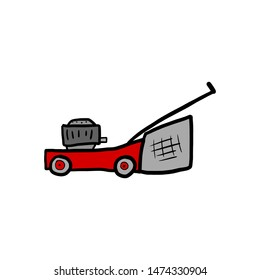 Old red cartoon lawn mower sketch. Childish isolated ink illustration on white.