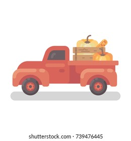 Old red Farm truck with pumpkins flat illustration