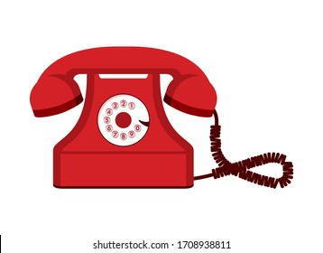 Old red telephone vector. Vintage red phone vector. Retro telephone icon. Red telephone icon isolated on a white background