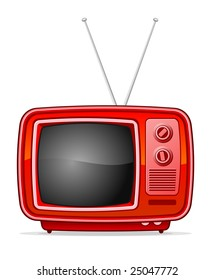Old red vector TV in retro-style
