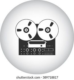Old reel tape recorder simple icon  on round background