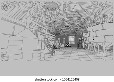 Old restored brewery in the European city. Interior with equipment. Vector