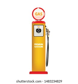 old retor vintage desing gasoline pump isolate on white background vector illustrations