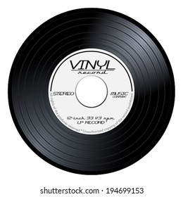 Old, retro black and white record vinyl, LP, eps10 vector art image illustration. isolated on white background