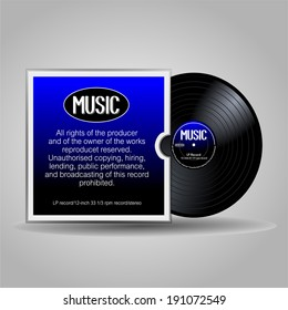 Old, retro blue-black record, LP with cover. eps10 vector art image. isolated on gray background. Vinyl long play record in a paper case, retro design with text note and detail.