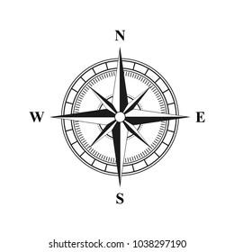 Old retro compass for navigating black. Flat vector illustration EPS 10