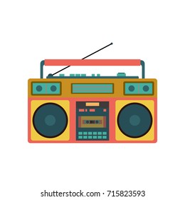 Old Retro Media Music and Radio Player. Vector Illustration. Flat Icon Design. Isolated on White Background