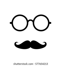 Old retro men's face accessories vector illustration on white background. Moustaches and eyeglasses icon.
