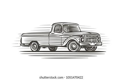 Old retro  pickup illustration. Vector.