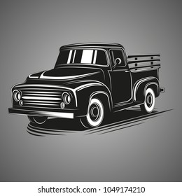 Old retro pickup truck vector illustration.