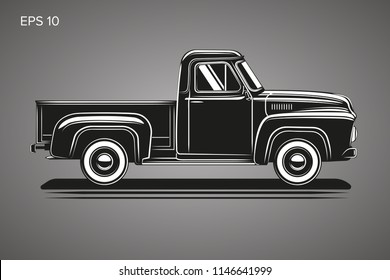 Old retro pickup truck vector illustration. Vintage transport vehicle. Farming workhorse